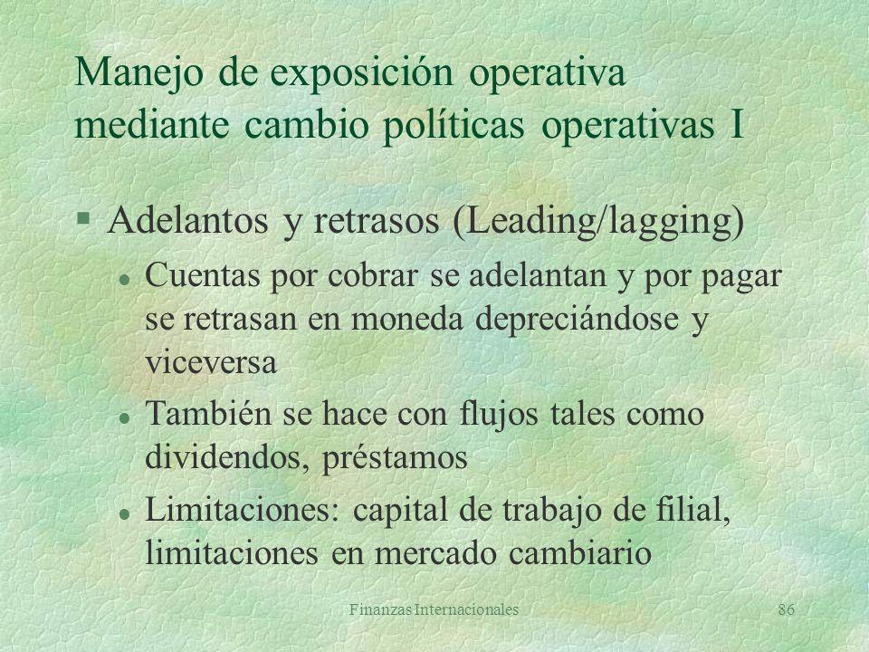 Finanzas Internacionales85 Manejo de exposición operativa a nivel estratégico §Diversificación de las operaciones l Ventas en diferentes países l Comp