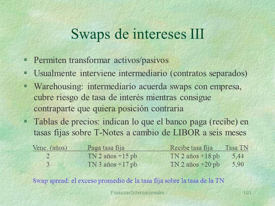 Finanzas Internacionales100 Swap de intereses: flujos Empresa B acuerda pagar 10% anual sobre principal imaginario de $100MM A acuerda pagar LIBOR a s