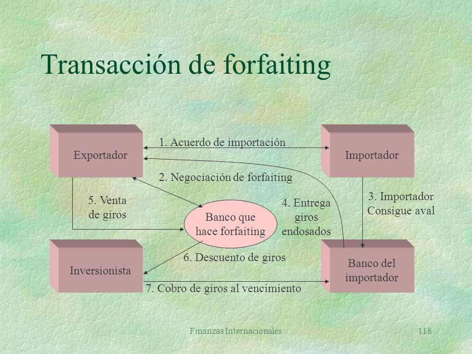 Finanzas Internacionales117 Otros instrumentos §Aceptaciones bancarias §Seguros sobre exportaciones l Convenido y pagado por exportador l Cubre riesgo