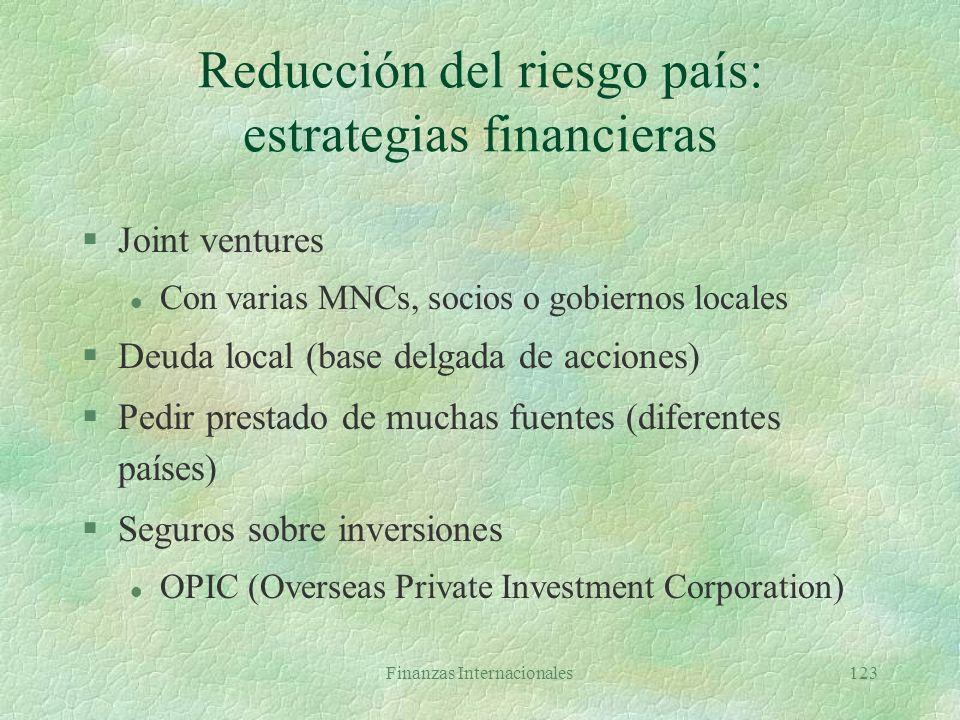 Finanzas Internacionales122 Reducción del riesgo país: estrategias en producción y logística §Control de la tecnología (patentes y procesos clave) §Co