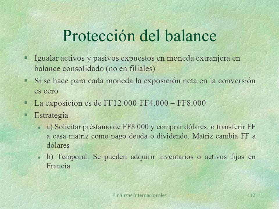 Finanzas Internacionales141 Cálculo de pérdida en la conversión Tasa vigenteTemporal ACTIVOS EXPUESTOS Efectivo$ 200$200 Cuentas x cobrar 400 400 Inve