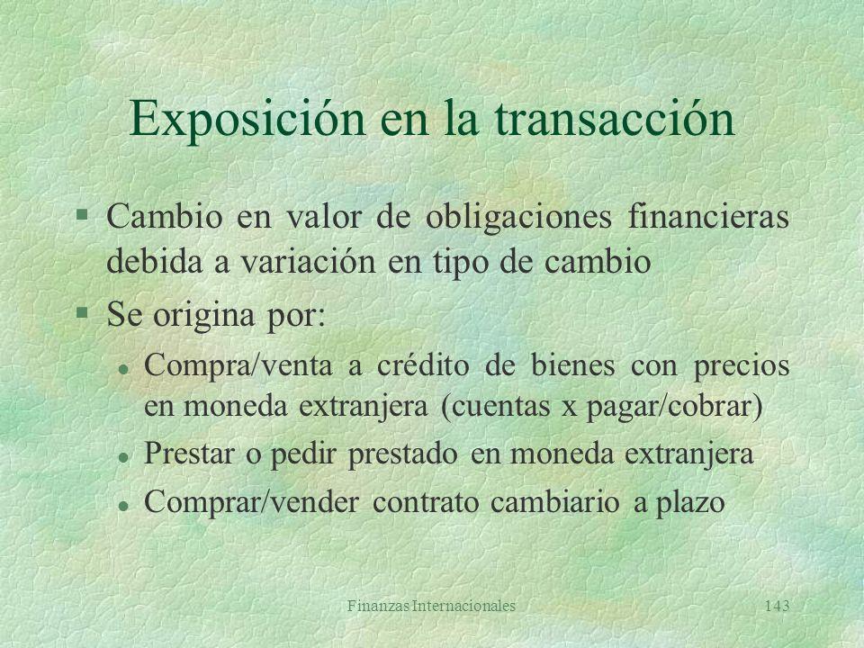Finanzas Internacionales142 Protección del balance §Igualar activos y pasivos expuestos en moneda extranjera en balance consolidado (no en filiales) §