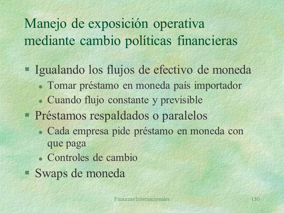 Finanzas Internacionales149 Manejo de exposición operativa mediante cambio políticas operativas II §Compartiendo los riesgos l comprador y vendedor di