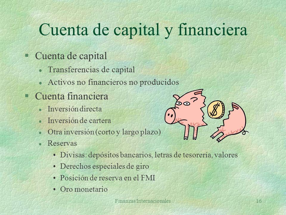 Finanzas Internacionales15 Cuenta Corriente §Bienes §Servicios l Transportes, viajes, otros §Ingreso l Remuneración empleados l Ingreso por inversión