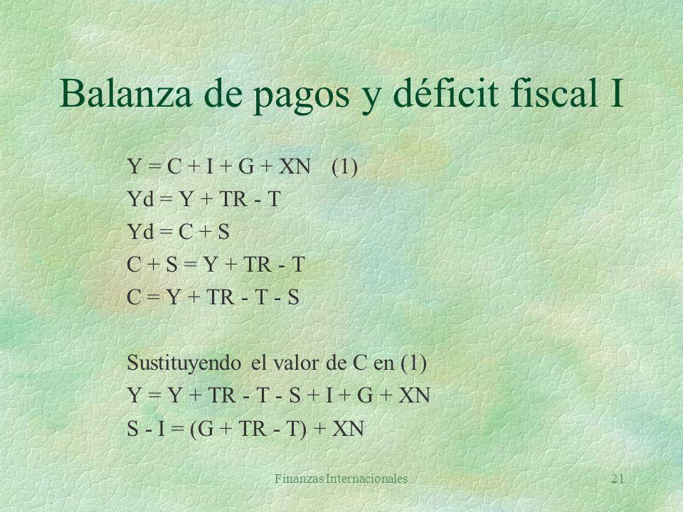 Finanzas Internacionales20 Balanza de pagos, activos externos y ahorro §Balanza global y balanza básica §Cuenta corriente: PIB = C + I + X - M como P