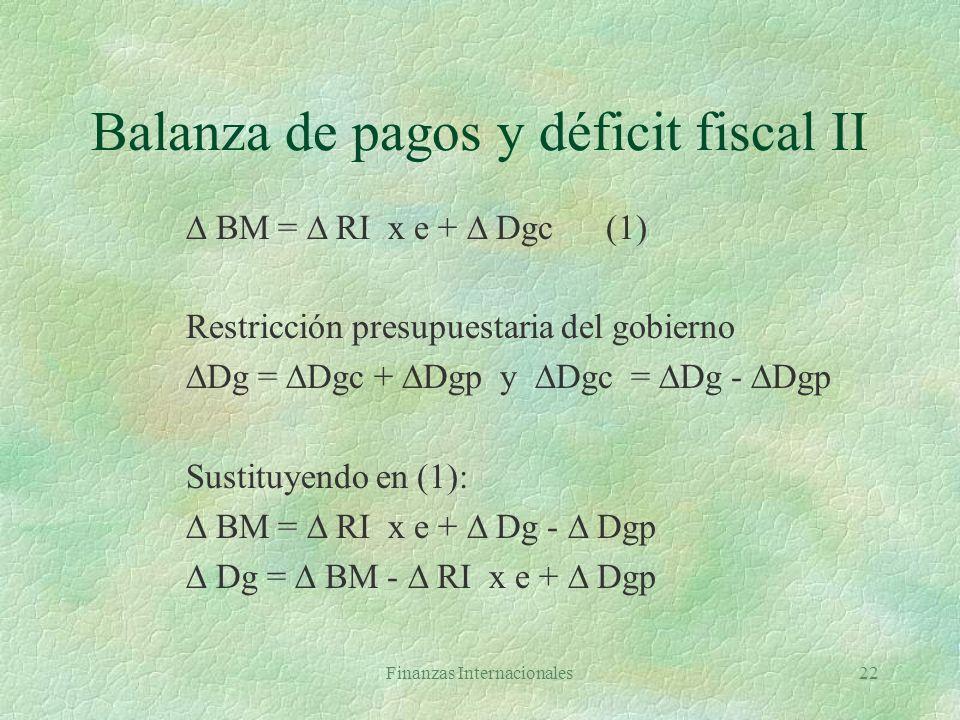 Finanzas Internacionales21 Balanza de pagos y déficit fiscal I Y = C + I + G + XN(1) Yd = Y + TR - T Yd = C + S C + S = Y + TR - T C = Y + TR - T - S