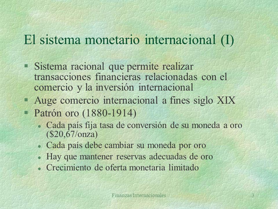 Finanzas Internacionales33 Arbitraje de intereses con cobertura R uk = F(1 + i*)/e DIC = R uk - R us = F(1 + i*)/e - (1 + i) En equilibrio: (1 + i)/(1 + i*) = F/e DIC (F - e)/e + i* - i DIC f + i* - i En equilibrio: f i - i*