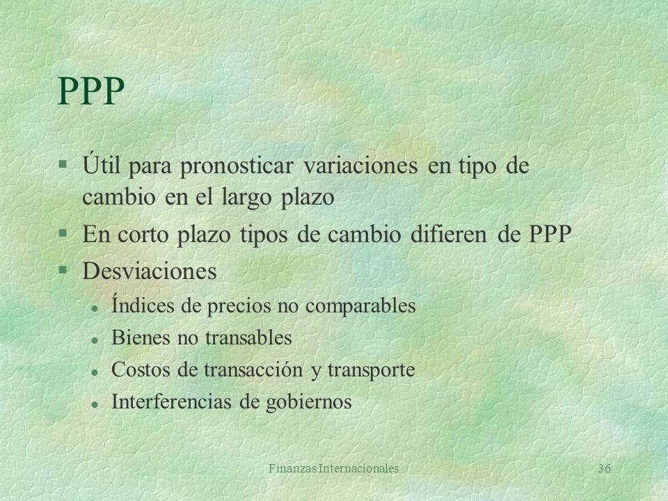 Finanzas Internacionales35 Paridad del poder de compra (PPP) §Tipo de cambio entre dos monedas debe igualar los precios de dos cestas de bienes iguale