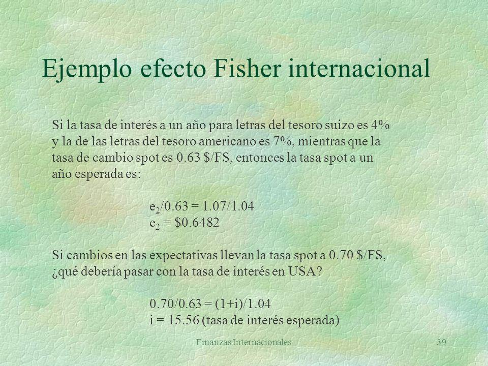 Finanzas Internacionales38 Tasas de interés y tipos de cambio §Efecto Fisher: interés nominal igual a interés real más compensación por inflación 1+i