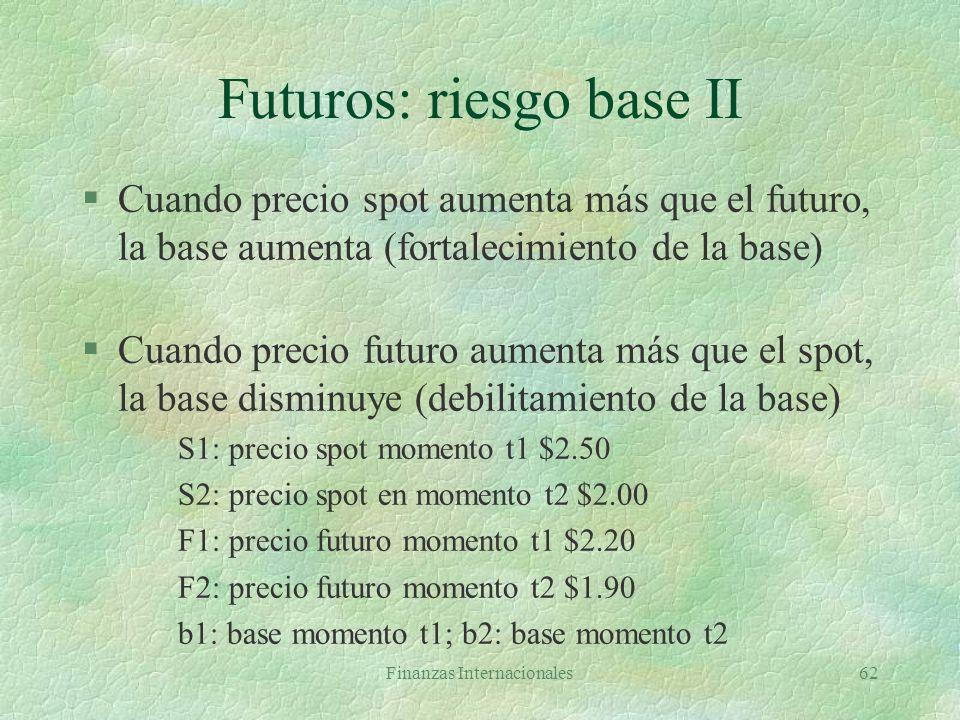 Finanzas Internacionales61 Futuros: riesgo base l Base = precio spot del activo a cubrir - precio futuro del contrato utilizado l Si activo cubierto y