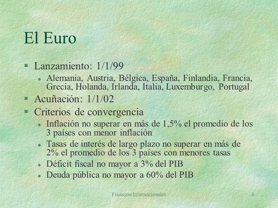 Finanzas Internacionales8 El Euro §Lanzamiento: 1/1/99 l Alemania, Austria, Bélgica, España, Finlandia, Francia, Grecia, Holanda, Irlanda, Italia, Luxemburgo, Portugal §Acuñación: 1/1/02 §Criterios de convergencia l Inflación no superar en más de 1,5% el promedio de los 3 países con menor inflación l Tasas de interés de largo plazo no superar en más de 2% el promedio de los 3 países con menores tasas l Déficit fiscal no mayor a 3% del PIB l Deuda pública no mayor a 60% del PIB