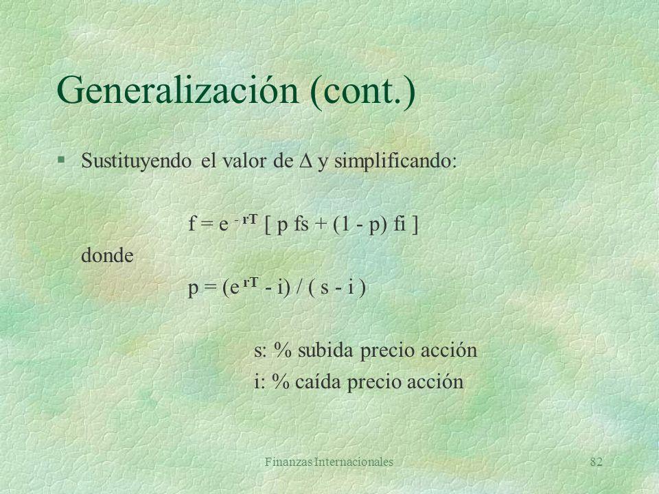 Finanzas Internacionales81 Generalización Al vencer la opción valor portafolio es Ss - fs ó Si - fi. Como deben ser iguales = (fs - fi) / (Ss - Si) es