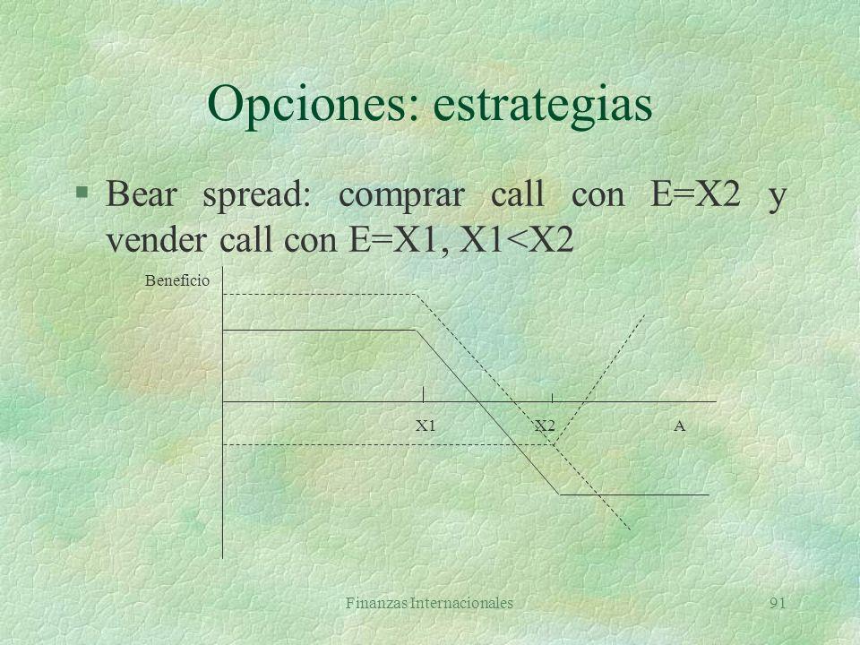 Finanzas Internacionales90 Opciones: estrategias l El beneficio de un bull spread es: Rango Ben. Long call Ben. Short callBeneficio total A>=X2 A - X1