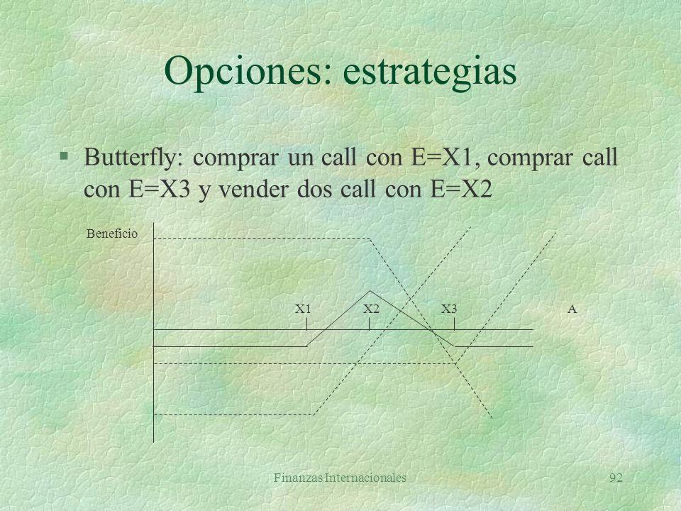 Finanzas Internacionales91 Opciones: estrategias §Bear spread: comprar call con E=X2 y vender call con E=X1, X1<X2 X1 X2A Beneficio
