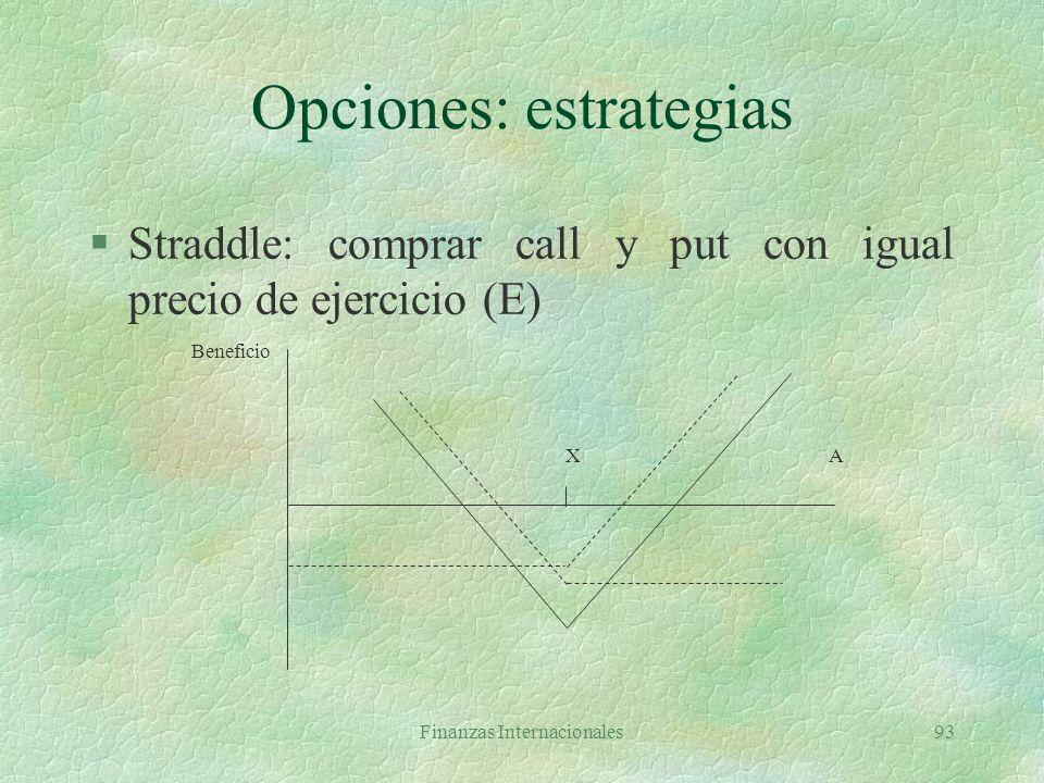 Finanzas Internacionales92 Opciones: estrategias §Butterfly: comprar un call con E=X1, comprar call con E=X3 y vender dos call con E=X2 X1X2 X3A Benef