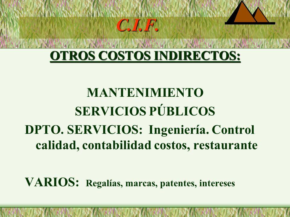 C.I.F POR EL OBJETO DEL GASTO: Materiales Indirectos: Combustibles, lubricantes, herramientas de corta duración, tornillos, pegantes. Mano de Obra Ind