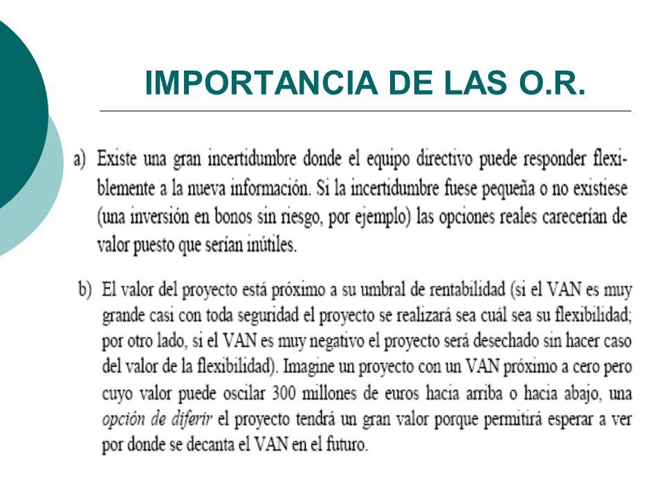LOS PROYECTOS Y LAS O.R.