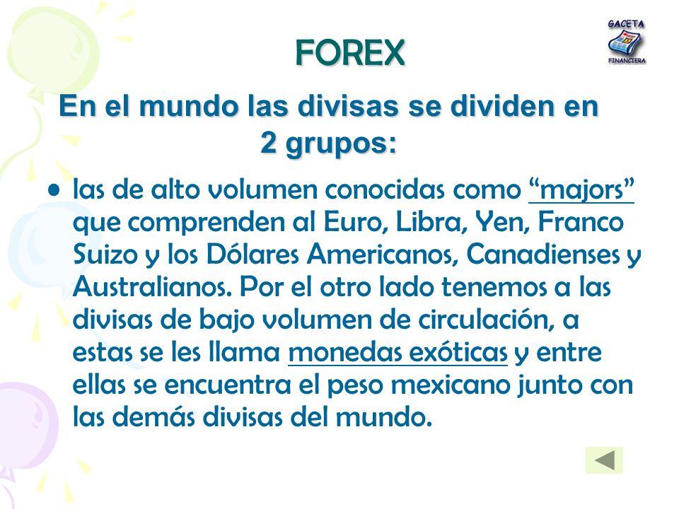 FOREX las de alto volumen conocidas como majors que comprenden al Euro, Libra, Yen, Franco Suizo y los Dólares Americanos, Canadienses y Australianos.