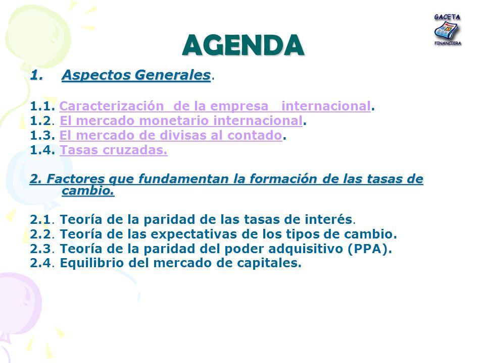AGENDA 1.Aspectos Generales 1.Aspectos Generales. 1.1. Caracterización de la empresa internacional.Caracterización de la empresa internacional 1.2. El