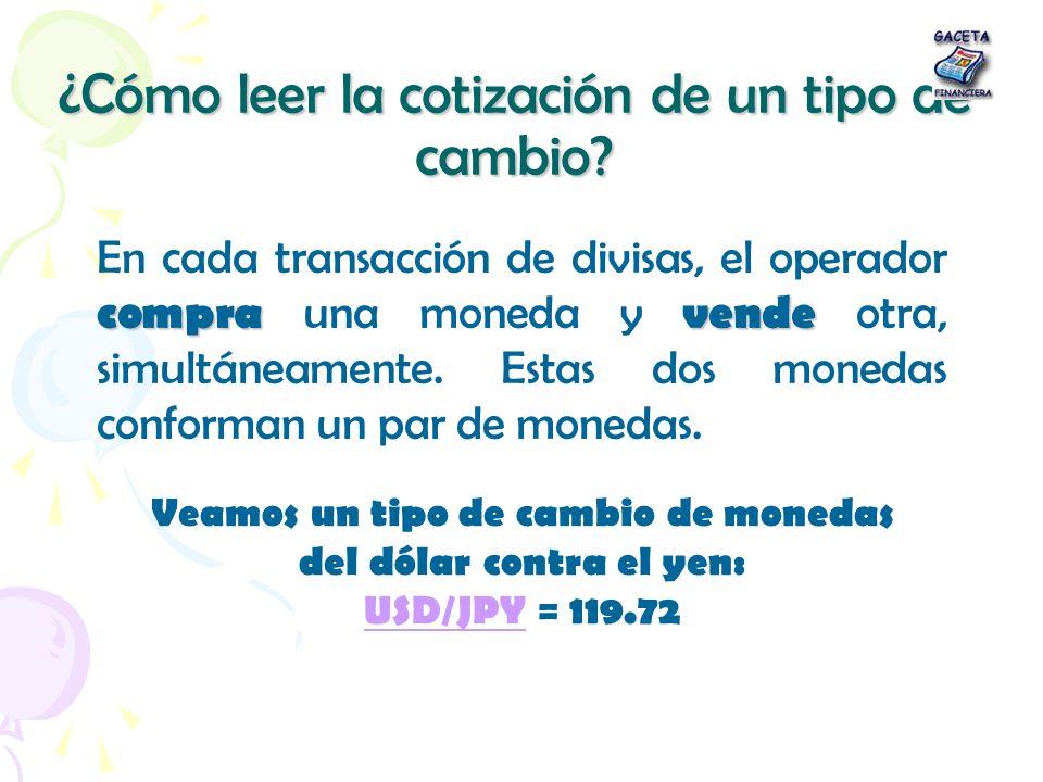 ¿Cómo leer la cotización de un tipo de cambio? compravende En cada transacción de divisas, el operador compra una moneda y vende otra, simultáneamente