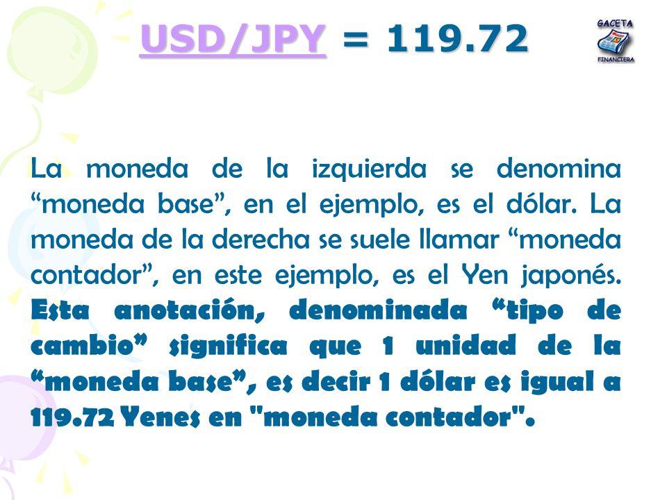 USD/JPYUSD/JPY = 119.72 USD/JPY La moneda de la izquierda se denomina moneda base, en el ejemplo, es el dólar. La moneda de la derecha se suele llamar