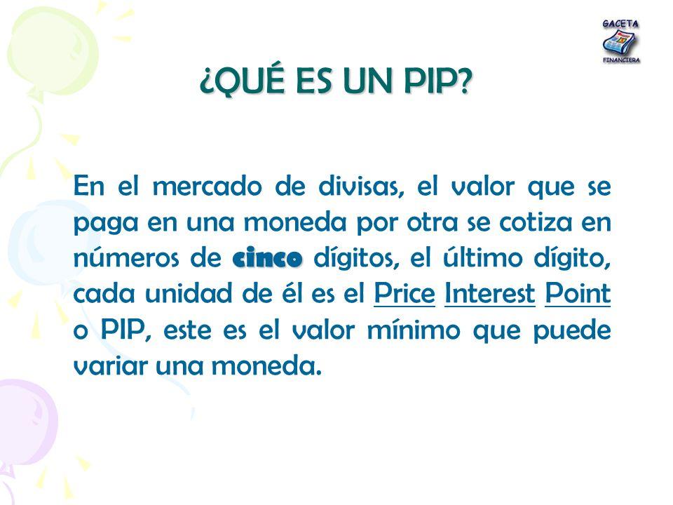 ¿QUÉ ES UN PIP? cinco En el mercado de divisas, el valor que se paga en una moneda por otra se cotiza en números de cinco dígitos, el último dígito, c