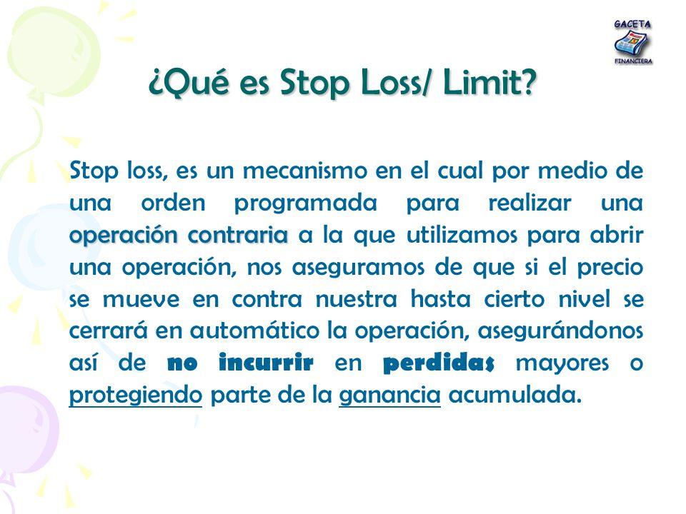 ¿Qué es Stop Loss/ Limit? operacióncontraria Stop loss, es un mecanismo en el cual por medio de una orden programada para realizar una operación contr