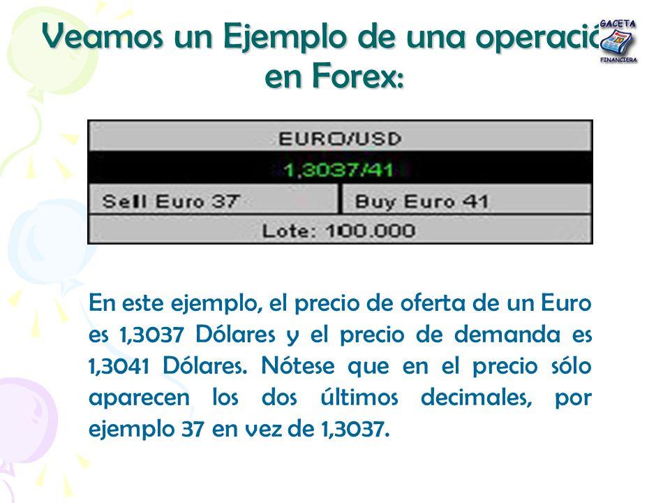 Veamos un Ejemplo de una operación en Forex: En este ejemplo, el precio de oferta de un Euro es 1,3037 Dólares y el precio de demanda es 1,3041 Dólare