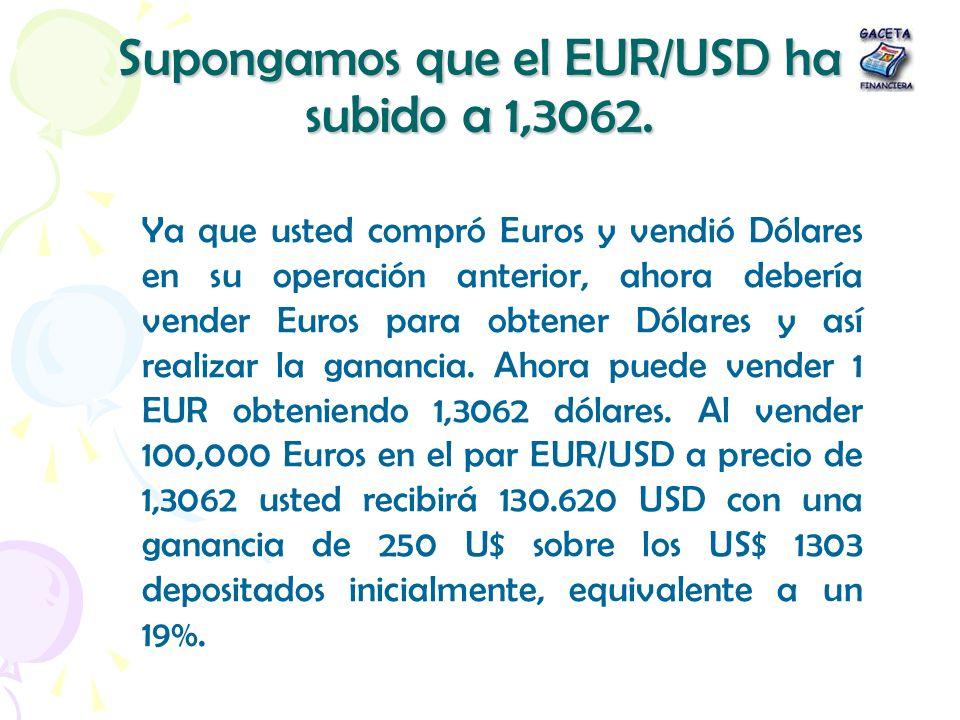 Supongamos que el EUR/USD ha subido a 1,3062. Ya que usted compró Euros y vendió Dólares en su operación anterior, ahora debería vender Euros para obt