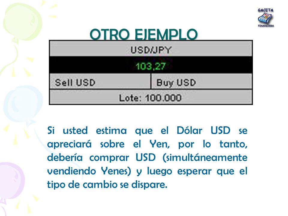 OTRO EJEMPLO Si usted estima que el Dólar USD se apreciará sobre el Yen, por lo tanto, debería comprar USD (simultáneamente vendiendo Yenes) y luego e