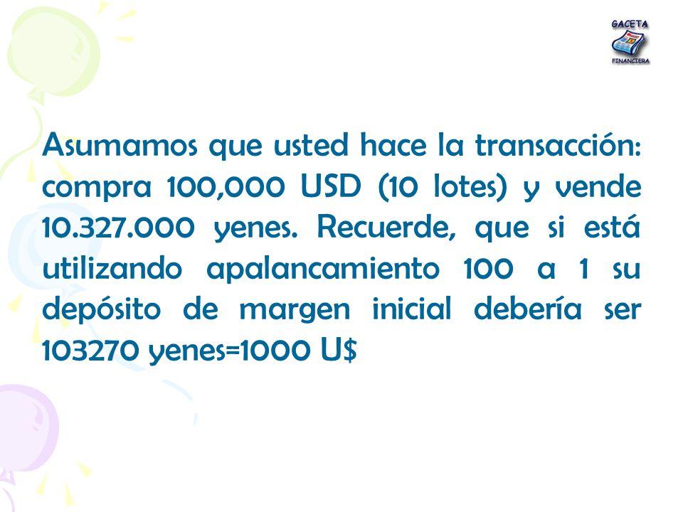 Asumamos que usted hace la transacción: compra 100,000 USD (10 lotes) y vende 10.327.000 yenes. Recuerde, que si está utilizando apalancamiento 100 a