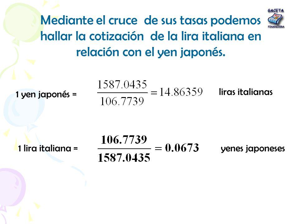 Mediante el cruce de sus tasas podemos hallar la cotización de la lira italiana en relación con el yen japonés. 1 yen japonés = liras italianas 1 lira