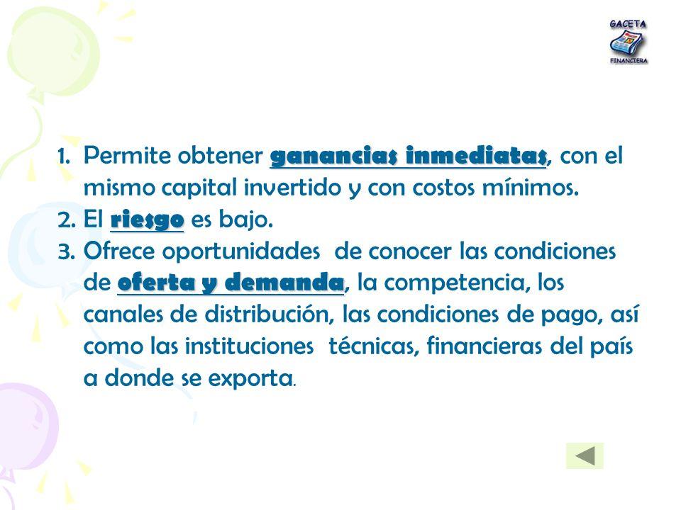 ganancias inmediatas 1.Permite obtener ganancias inmediatas, con el mismo capital invertido y con costos mínimos. riesgo 2.El riesgo es bajo. oferta y