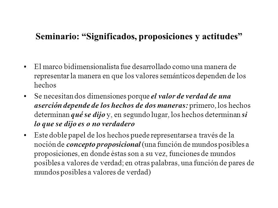 Seminario: Significados, proposiciones y actitudes El marco bidimensionalista fue desarrollado como una manera de representar la manera en que los val