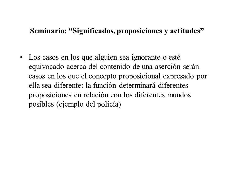 Seminario: Significados, proposiciones y actitudes Los casos en los que alguien sea ignorante o esté equivocado acerca del contenido de una aserción s