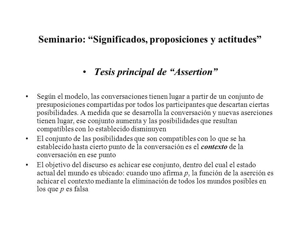 Seminario: Significados, proposiciones y actitudes Tesis principal de Assertion Según el modelo, las conversaciones tienen lugar a partir de un conjun