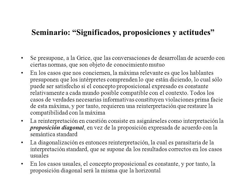 Seminario: Significados, proposiciones y actitudes Se presupone, a la Grice, que las conversaciones de desarrollan de acuerdo con ciertas normas, que