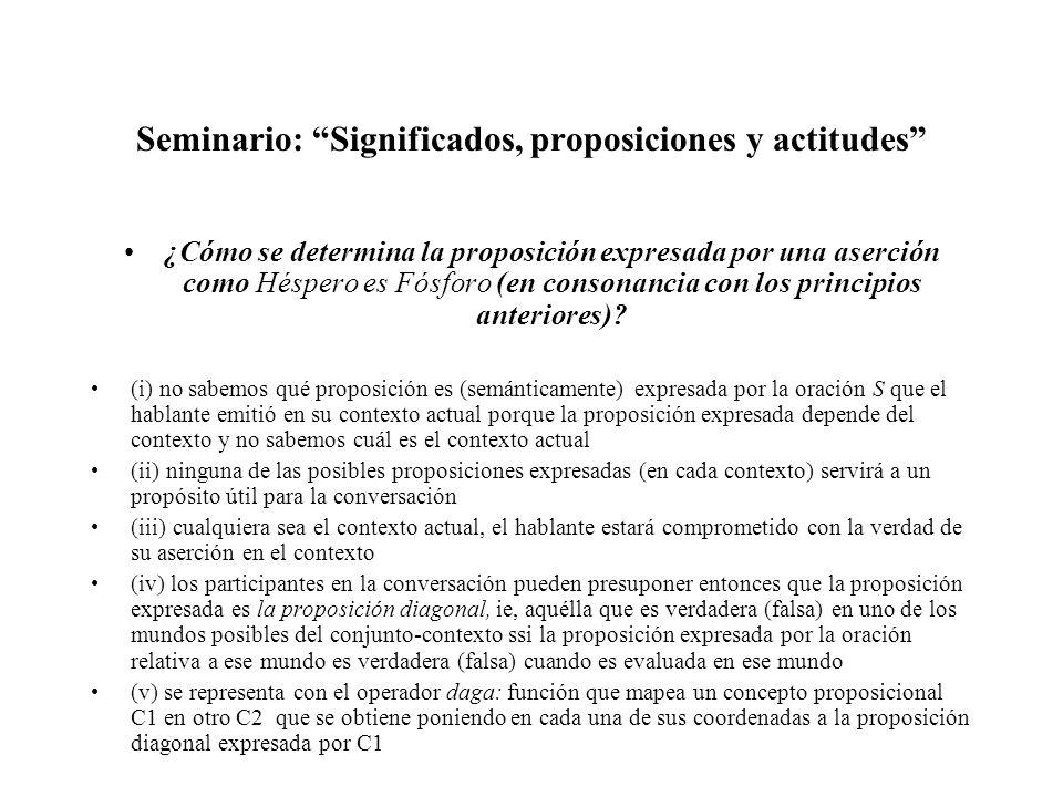Seminario: Significados, proposiciones y actitudes ¿Cómo se determina la proposición expresada por una aserción como Héspero es Fósforo (en consonanci