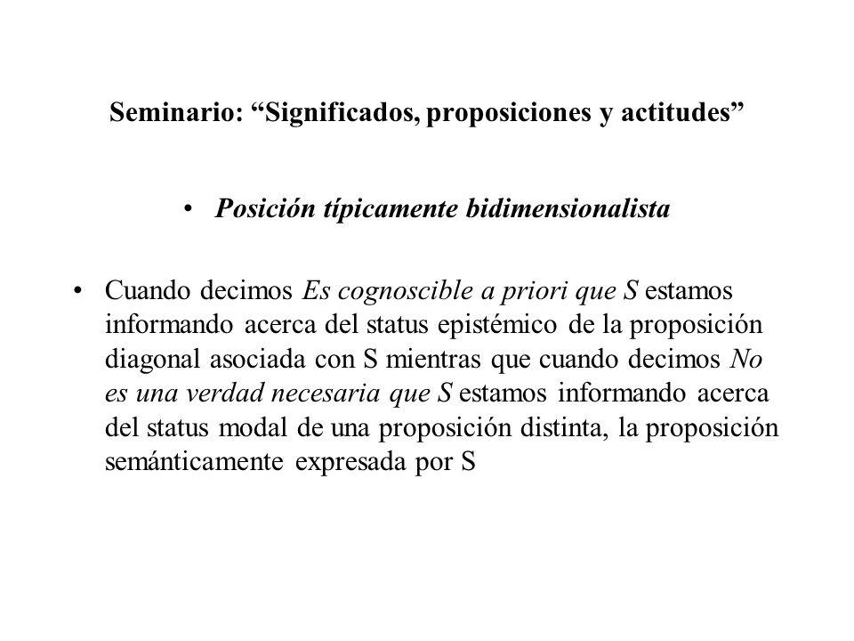 Seminario: Significados, proposiciones y actitudes Posición típicamente bidimensionalista Cuando decimos Es cognoscible a priori que S estamos informa