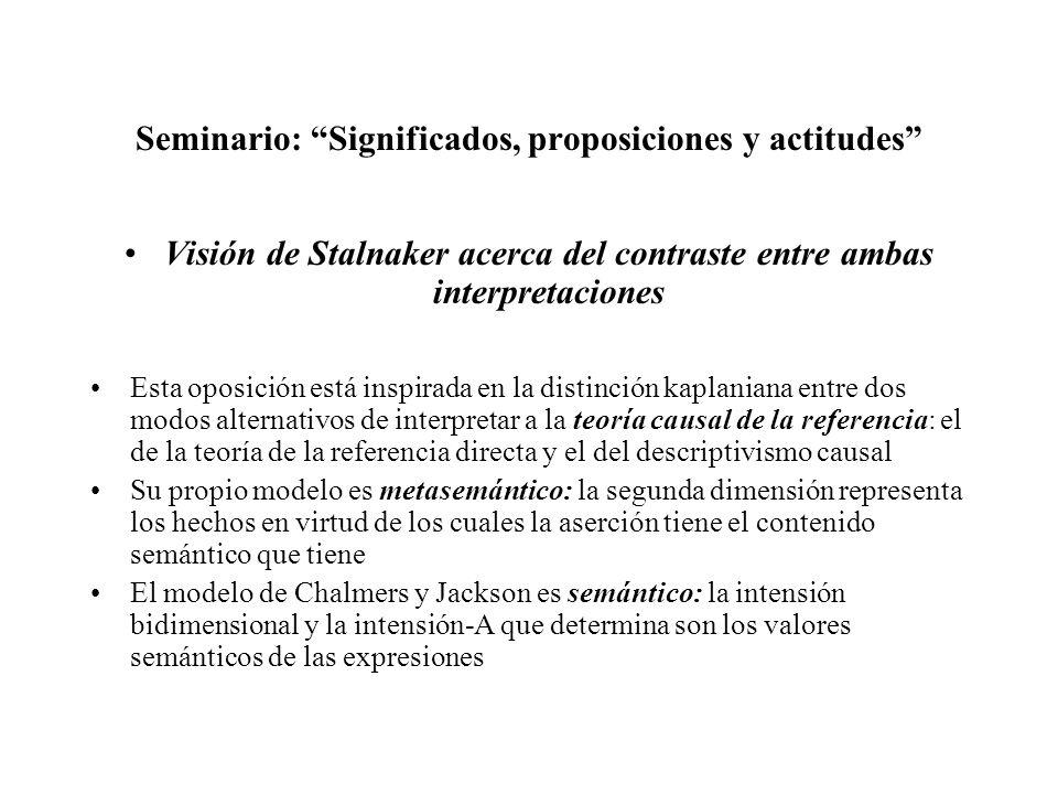 Seminario: Significados, proposiciones y actitudes Visión de Stalnaker acerca del contraste entre ambas interpretaciones Esta oposición está inspirada
