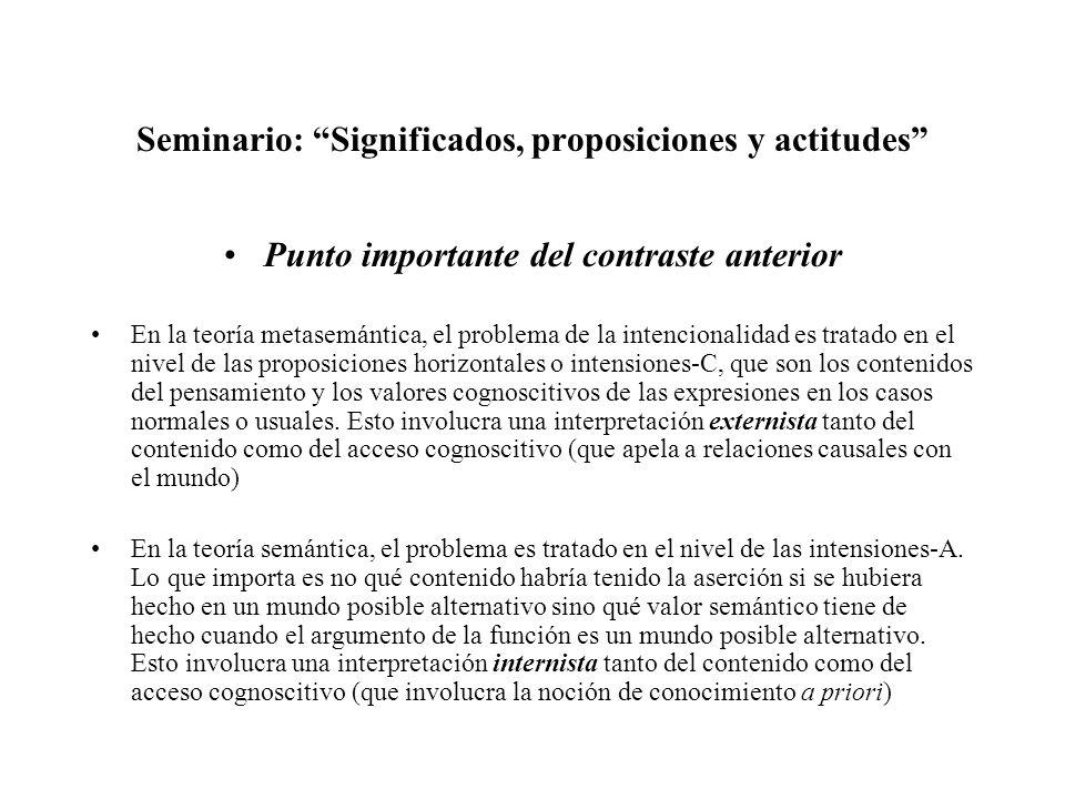 Seminario: Significados, proposiciones y actitudes Punto importante del contraste anterior En la teoría metasemántica, el problema de la intencionalid
