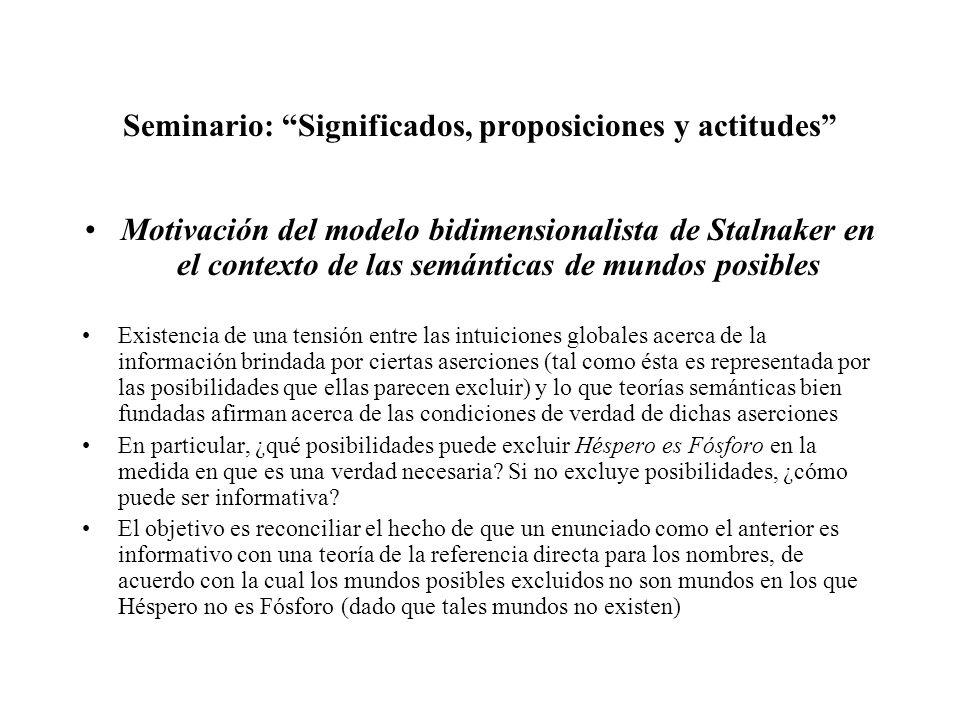 Seminario: Significados, proposiciones y actitudes Motivación del modelo bidimensionalista de Stalnaker en el contexto de las semánticas de mundos pos