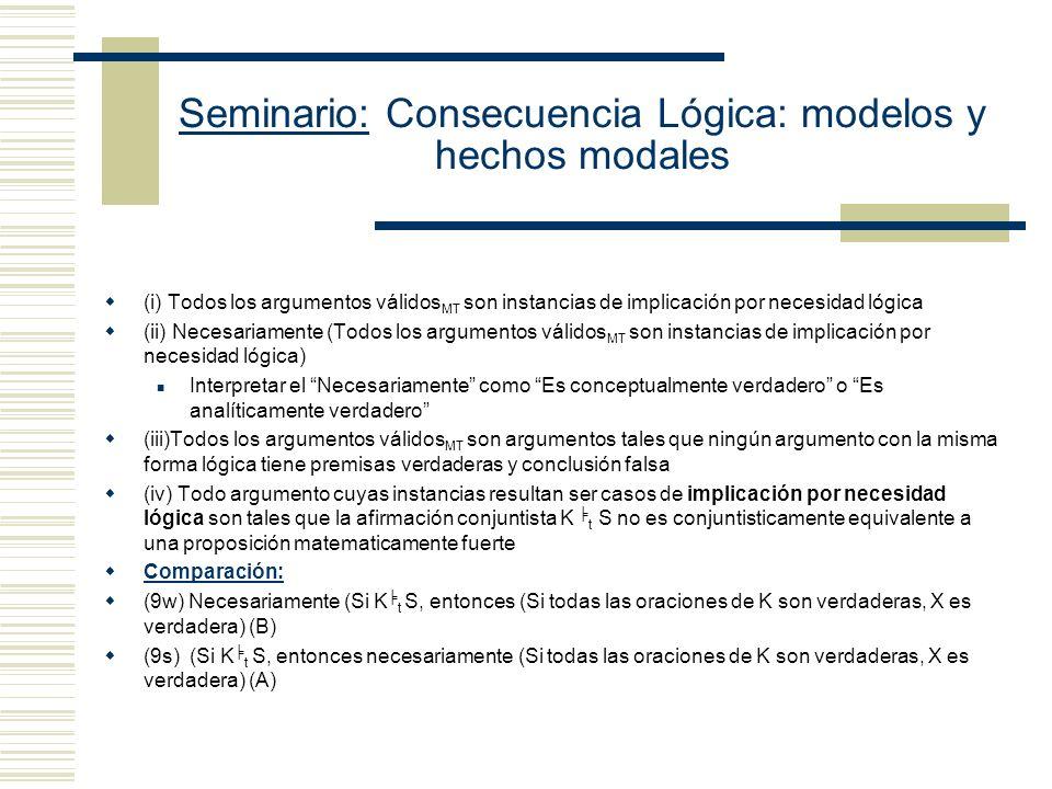 Seminario: Consecuencia Lógica: modelos y hechos modales Manuel García Carpintero