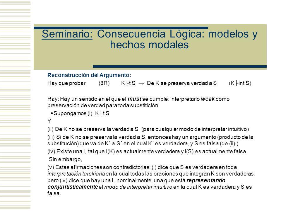Seminario: Consecuencia Lógica: modelos y hechos modales Tesis de Mario: Defensa de (i): (Todos los argumentos válidos MT son instancias de implicación por necesidad lógica) ¿Podemos dar una prueba de (i).