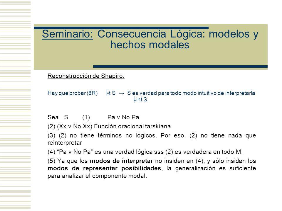 Seminario: Consecuencia Lógica: modelos y hechos modales Etchemendy argumenta que (8R) es falsa.
