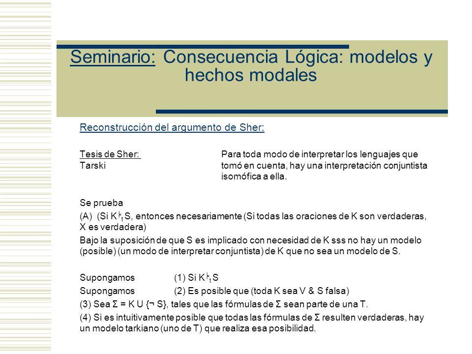 Seminario: Consecuencia Lógica: modelos y hechos modales Reconstrucción de Shapiro: Hay que probar (8R) t S S es verdad para todo modo intuitivo de interpretarlaint S Sea S (1) Pa v No Pa (2) (Xx v No Xx) Función oracional tarskiana (3) (2) no tiene términos no lógicos.