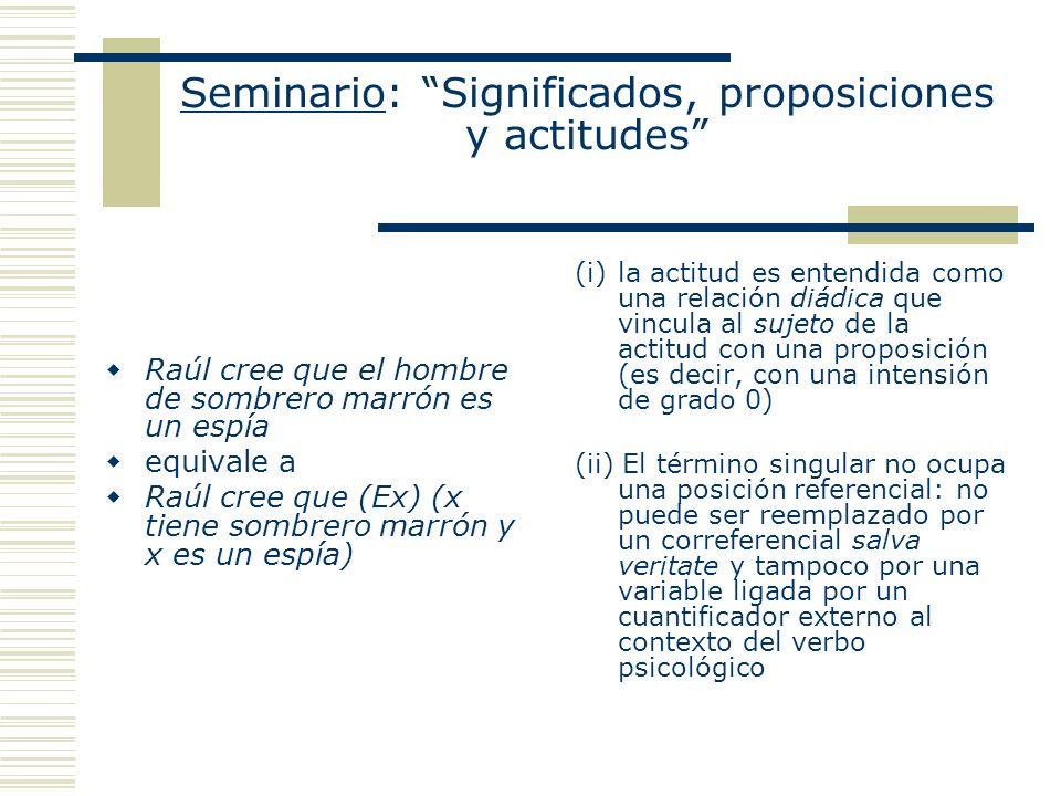 Seminario: Significados, proposiciones y actitudes Raúl cree que el hombre de sombrero marrón es un espía equivale a Raúl cree que (Ex) (x tiene sombr