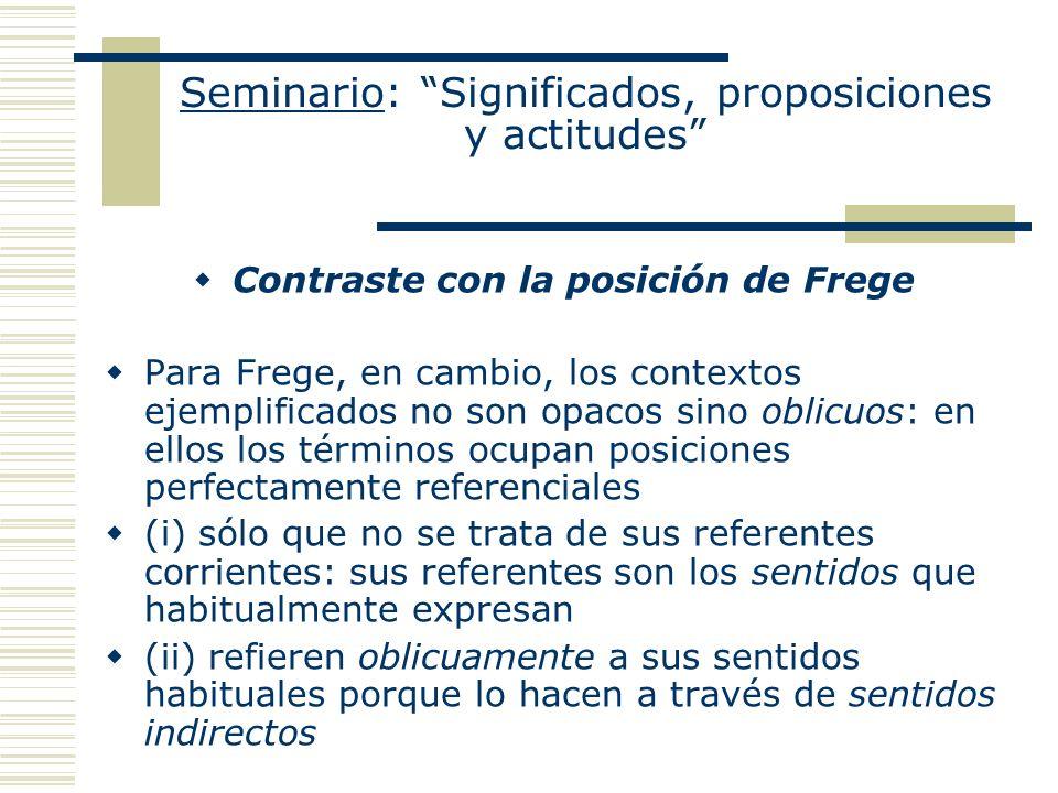 Seminario: Significados, proposiciones y actitudes Contraste con la posición de Frege Para Frege, en cambio, los contextos ejemplificados no son opaco