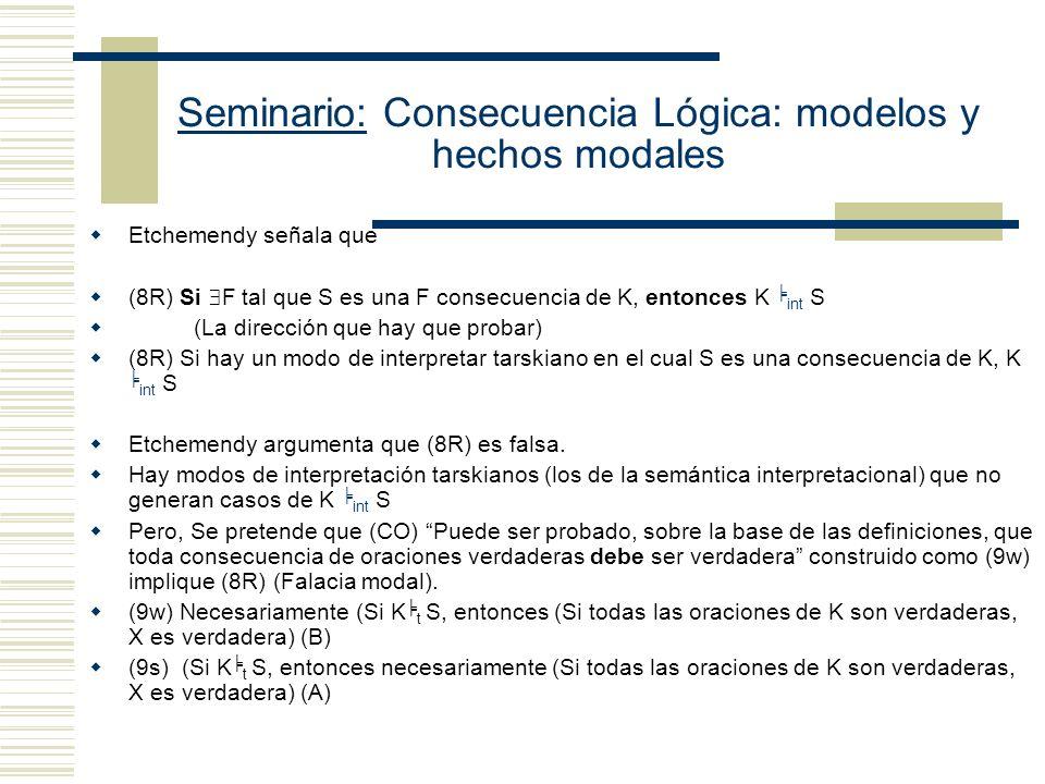 Seminario: Consecuencia Lógica: modelos y hechos modales Tesis de Ray: Tarski no cometió ninguna falacia Etchemendy comete dos errores: (i)Malinterpreta el propósito de Tarski (ii)Caracteriza mal la explicación de Tarski