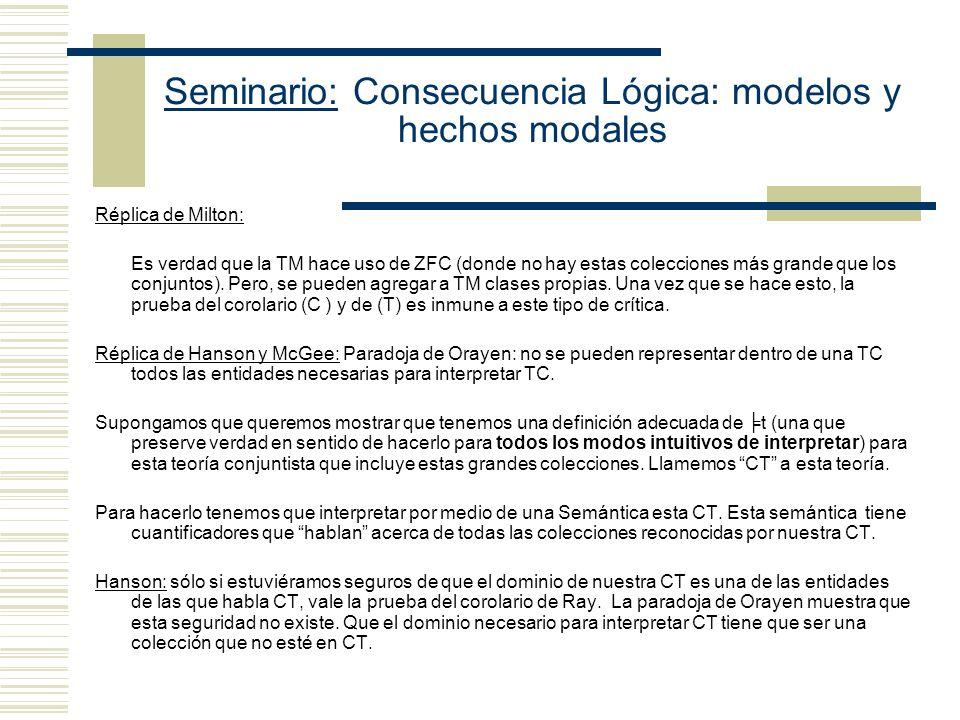 Seminario: Consecuencia Lógica: modelos y hechos modales Hanson: el supuesto según el cual, para todo modo de interpretar intuitivo existe un modo de